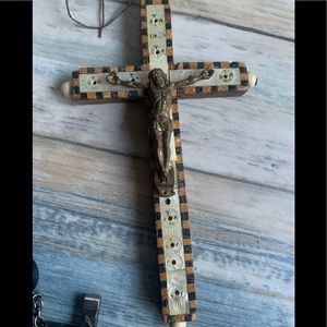 Vintage wooden crucifix signed Jerusalem